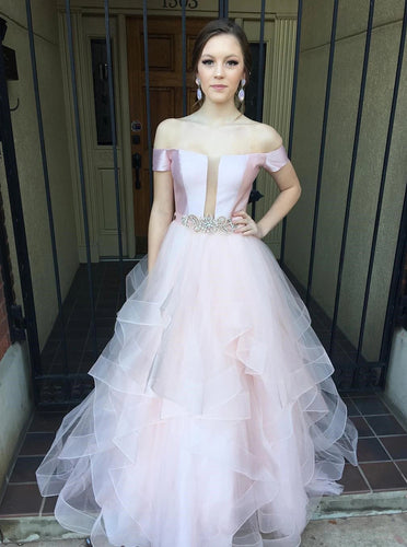 Off Shoulder Long Prom Dresses With Beading Formal Evening Dress PO321
