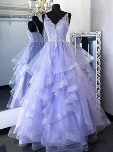 Princess Lilac Tulle Long Prom Gown Lace Appliques Formal Dress PO375