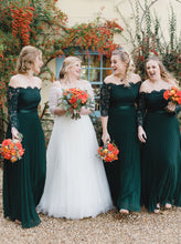 Off Shoulder Emerald Green Lace Long Sleeves Chiffon Bridesmaid Dresses OB396