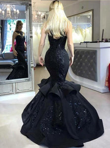 Trumpet/Mermaid Black Long Prom Dresses, Appliqued Beaded Evening Dress PO125