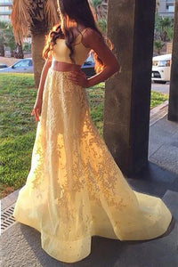 A-line Square Sleeveless Appliqued Two Piece Yellow Prom Dresses PO079