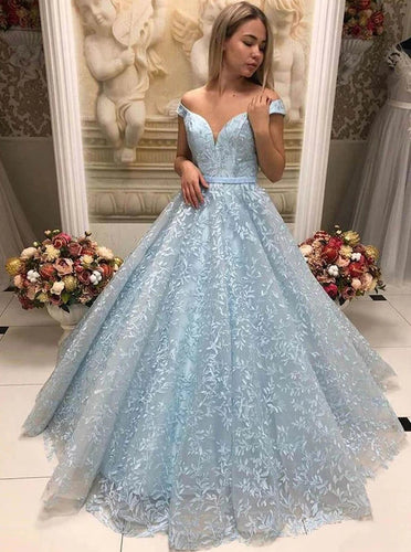 Light Blue V-neck Applique Tulle Long Prom Dress, Off Shoulder Evening Dress PO380