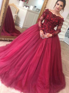 Off-Shoulder Ball Gown Burgundy Long Sleeves Appliques Tulle Prom Dresses PO145