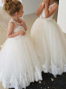Princess Ivory Scoop Neckline Open Back Flower Girl Dresses With Lace OF142