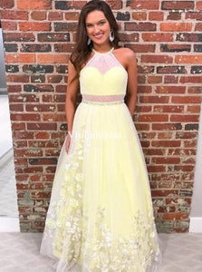 A-Line Halter Yellow Long Prom Dress With Appliques Beading PO136