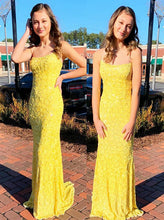 Yellow Lace Sheath Long Prom Dresses, Scoop Sexy Graduation Evening Dress PO426
