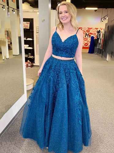 Sparkle Tulle Appliques Two Piece Royal Blue Prom Formal Dresses PO309