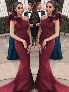 Burgundy Ruffles One-Shoulder Mermaid Long Prom Formal Dresses PO175