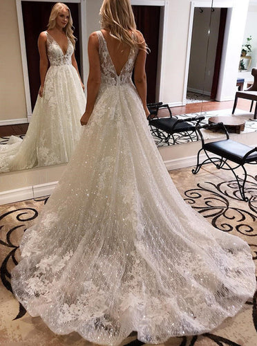 A-line Deep V-neck Sparkle Wedding Dress With Appliques OW609