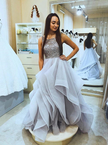 A-Line Square Neck Tulle Ruffled Backless Long Prom Dresses With Beading PO163