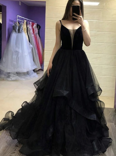 Black Tulle Long Prom Dresses, Black Evening Dress With Ruffles PO376