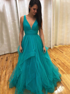 A-line V-neck Prom Dresses Backless Tiered Skirt Evening Dress PO383