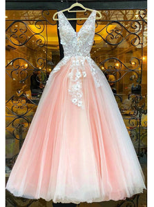 A-line V-neck Tulle Appliqued Floor Length Prom Dresses PO099