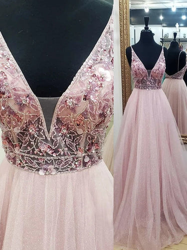A-line V Neck Beaded Tulle Prom Dresses, Backless V Neck Evening Dresses PO394