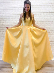 Daffodil A-line V-neck Satin Long Prom Dresses Simple Evening Dress PO161