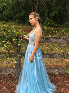 Gorgeous A-line V-neck Ice Blue Prom Dresses, Long Formal Dress with Appliques PO135