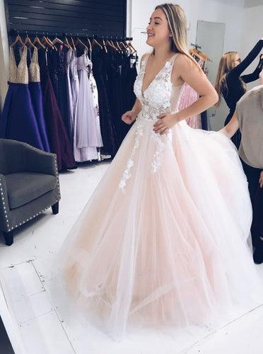 A-line V-Neck Tulle Long Prom Dresses With 3D Floral Appliques PO065