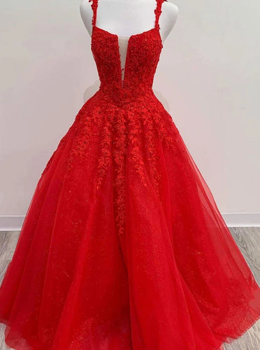 Straps Square Tulle Red Long Prom Dresses, Appliqued Beaded Formal Dress PO092