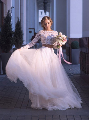 Tulle Boho Wedding Dresses Two Piece Lace Long Sleeves Bridal Gown OW668