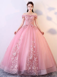 Princess Ball Gown Off-Shoulder Appliques Tulle Prom Quinceanera Dresses PO400