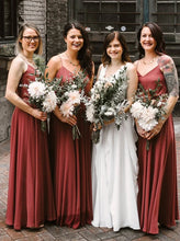 A Line V-neck Long Chiffon Simple Brick Red Bridesmaid Dresses OB382