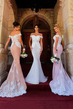 Off-the-shoulder Mermaid Bridesmaid Dresses With Lace Appliques OB384
