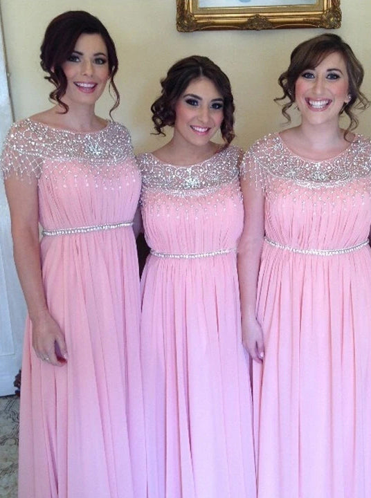 A-line Scoop Neckline Long Pink Bridesmaid Dresses With Beading OB383