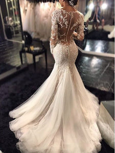Mermaid Lace Long Sleeves Wedding Dresses, Trumpet Tulle Court Train Wedding Gowns OW106