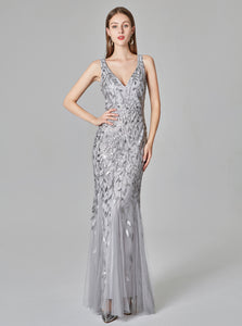 Silver V-neck Evening Dresses Embroidered Sequins Mermaid Prom Dress E90804