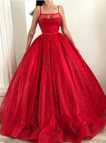 Spaghetti-straps Square Sparkly Red Tulle Ball Gown Long Prom Dresses PO258