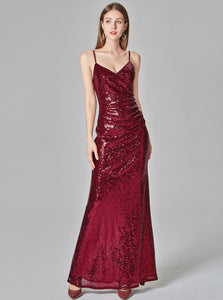 Sexy Burgundy Prom Dresses V-neck Sequined Mermaid Evening Party Dresses E90811