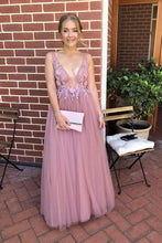 A-line Deep V-neck Tulle Long Prom Formal Dress with Appliques OP841