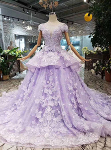 Princess Lilac Beaded Quinceanera Gown 3D Floral Appliques Ball Gown OP722