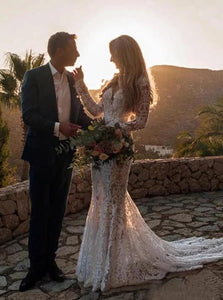 Backless Mermaid Lace Wedding Dresses, Long Sleeve Boho Bridal Gowns OW557