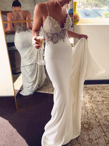 Mermaid Evening Dresses Spaghetti Straps Backless Wedding Dress OW672