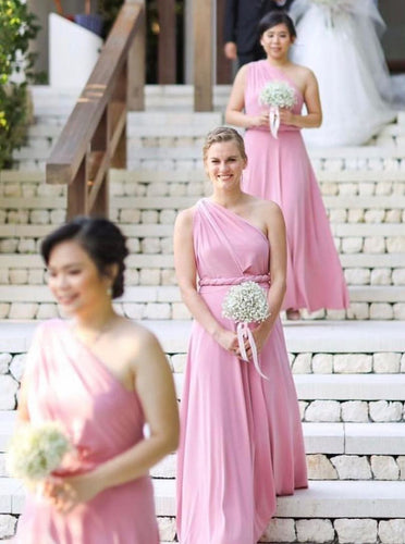Flowy One-Shoulder Floor Length Pink Bridesmaid Dresses OB282