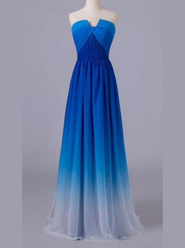 Strapless Ombre Royal Blue Prom Dresses Long Chiffon Gradient Dress OP851