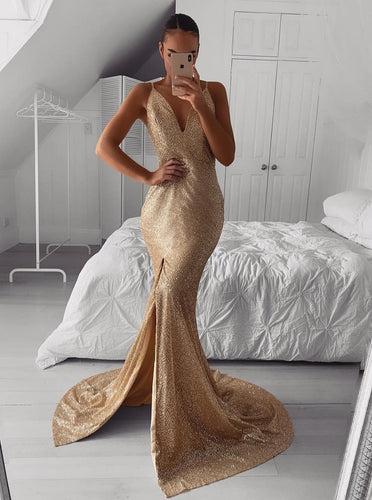 Sexy V-neck Mermaid Gold Evening Dresses Sequined Prom Dresses with Slit OP839