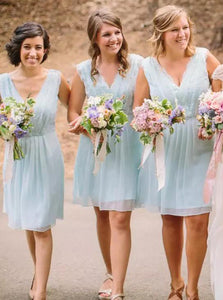 A-Line V-Neck Knee-Length Mint Blue Chiffon Bridesmaid Dresses OB231