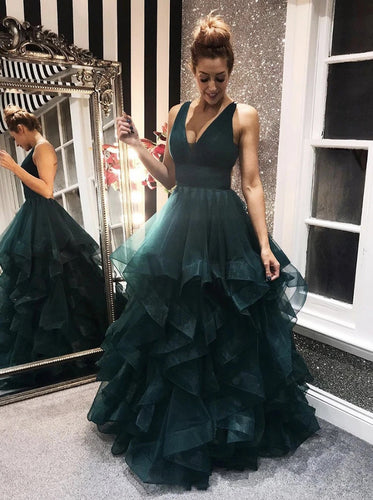 Dark Green Tulle Backless Prom Dresses, Long Evening Dress PO378