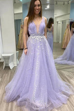 A Line V Neck Tulle Lace Appliques Long Lilac Prom Dress, Cheap Formal Dress PO363
