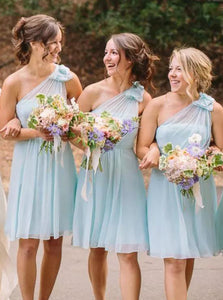 A-Line One-Shoulder Mint Blue Chiffon Short Bridesmaid Dresses OB232