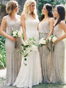 Sparkle V-neck Floor Length Sequins Long Bridesmaid Dresses OB379