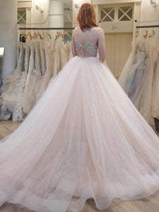 Spaghetti Straps Crystal Waist & Back Tulle Ball Gown Wedding Dresses OW156