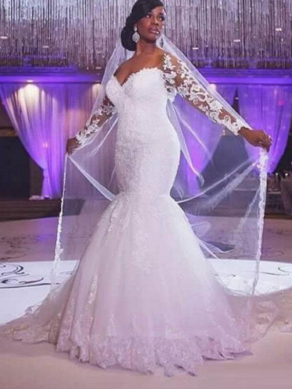 Sweetheart Trumpet/Mermaid Applique Long Sleeves Tulle Wedding Dresses OW157