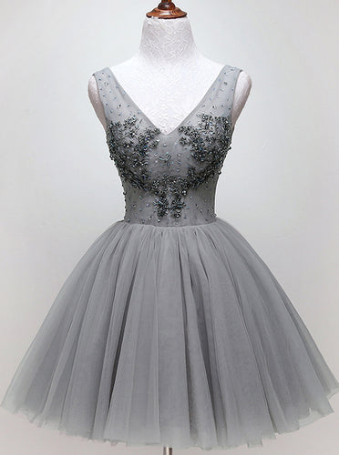 V-neck Beading Silver Short Prom Homecoming Dress Tulle Dance Dress OM470