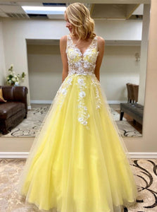 Princess V Neck Daffodil Tulle Long Prom Dresses With Lace Appliques PO357