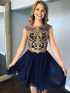 Jewel Neck Chiffon Navy Blue Short Homecoming Dress with Gold Appliques OM412