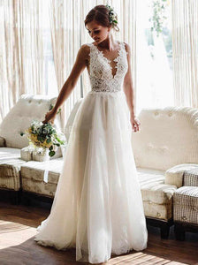 A-line Beach Wedding Dresses Boho Backless Lace Appliques Tulle Wedding Gowns OW660