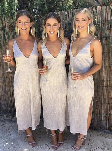 Slinky Slip Ankle Length Bridesmaid Dresses, Low Back Wedding Party Dress OB310